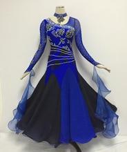 Standard Waltz Dance Dress Royal Blue Shiny Diamond Tango Ballroom Competition Dancing Costume Women's Ballroom Dance Dresses