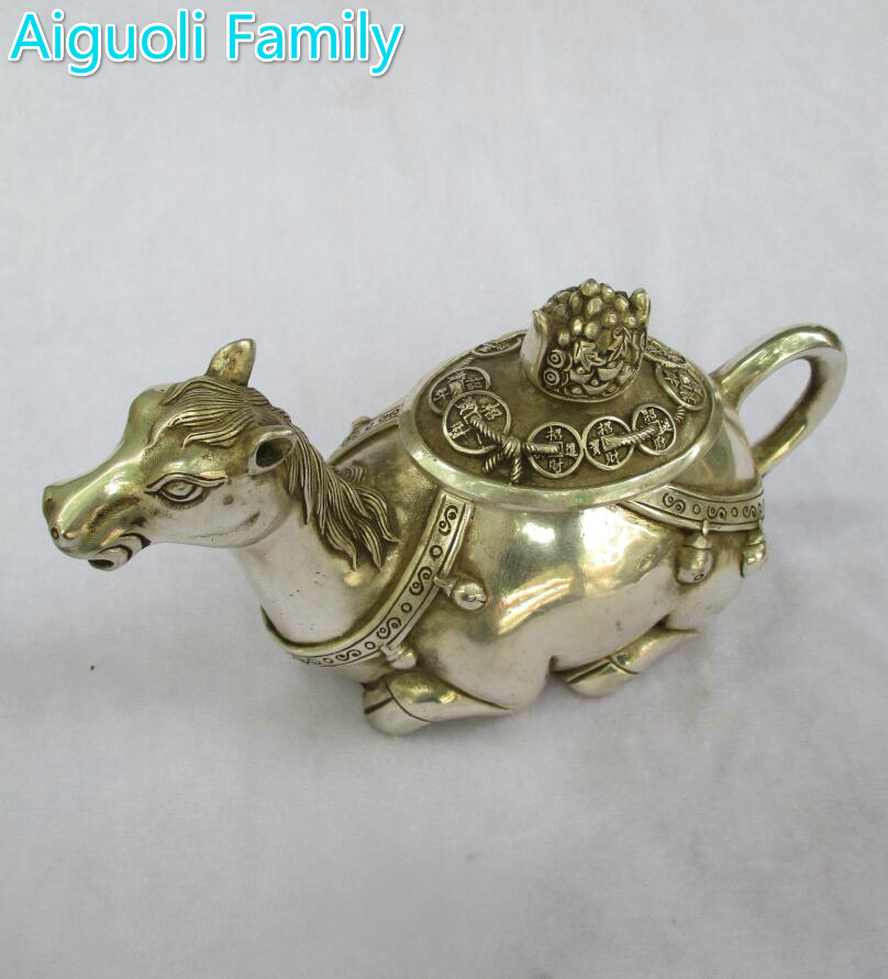 Art collection old chinese handmade tibet silver horse tea pot/metal teapot craft for home decorationArt collection old chinese handmade tibet silver horse tea pot/metal teapot craft for home decoration