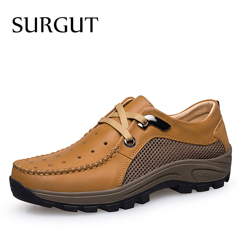 SURGUT Hot Sale European Style Men Casual Shoes Summer Genuine Leather Hollow Lace up Breathable Wear