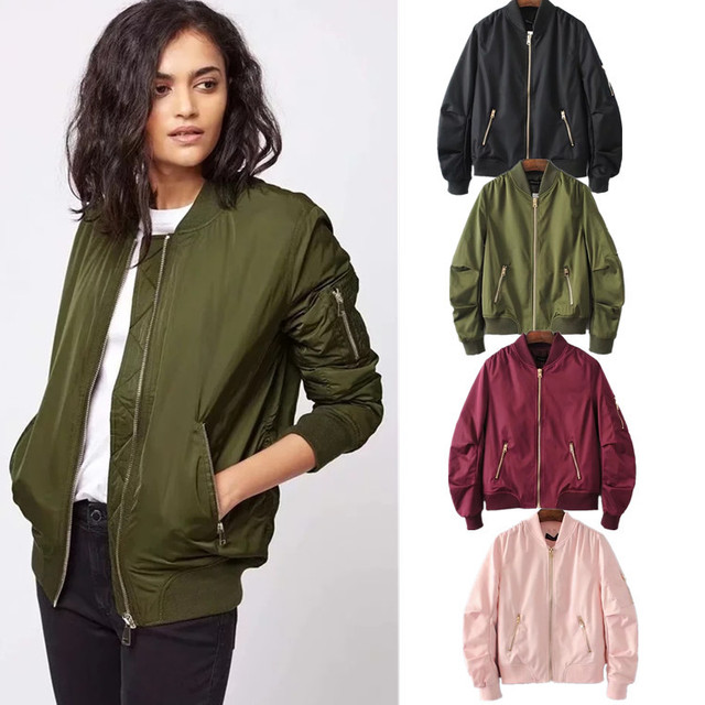 7d1879de8 2017 New Fashion Pink Baseball Clothing Female Autumn Short Hight Waist  Women Spring Autumn Pilot Flying Jacket Coats-in Basic Jackets from Women's  ...