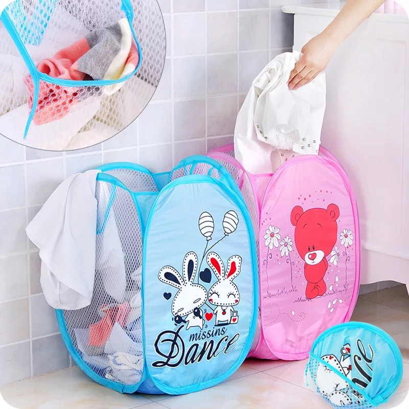 Bathroom Folding Hamper Laundry Basket Cartoon Dog Sorting Basket Mesh Toy Dirty Storage Box Home Decoration Accessories