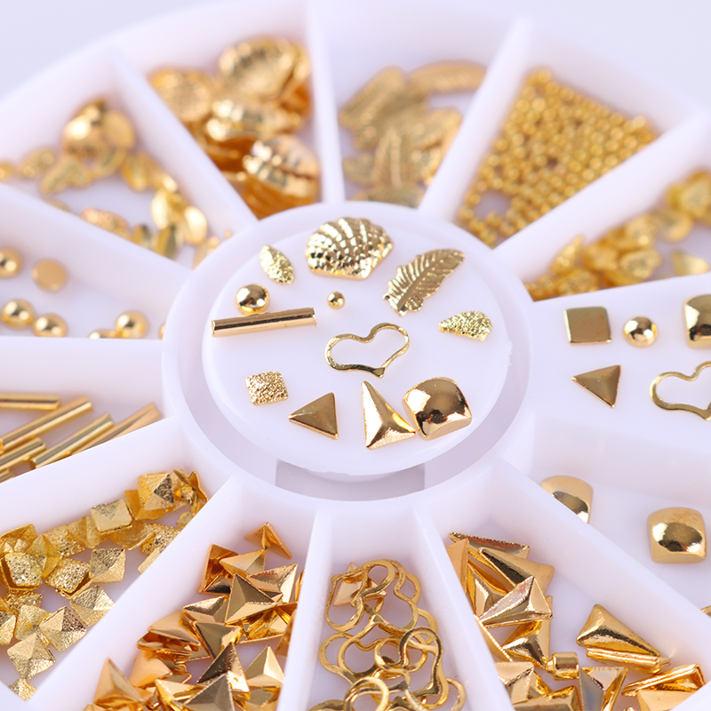 Gold Triangle Bead 3D Nail Decoration Heart Leaf Shell Rivet Manicure Studs for DIY Nail Art Decorations 12 boxes gold rivet nail studs round star heart triangle oval rhinestone manicure nail art decoration