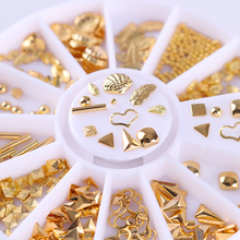 Gold Triangle Bead 3D Nail Decoration Heart Leaf Shell Rivet Manicure Studs for DIY Nail Art