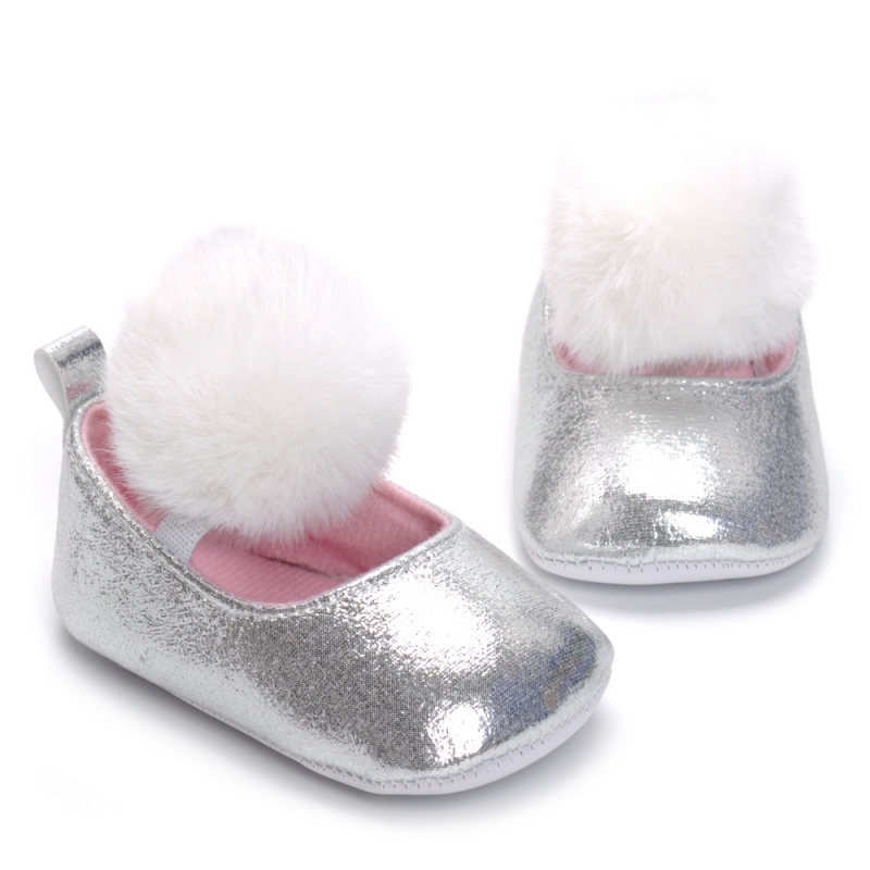 Spring Autumn Baby Infant Soft Sole Shoes PU First Walkers Silver Girls Princess Walking Shoes