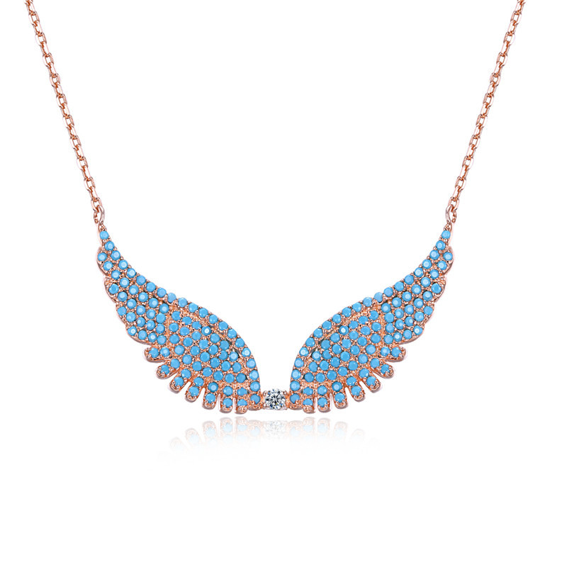 Necklace of SVN137, 925 silver rose gold plated Angel wings necklace,Top Turquoise, fashion neclace for Woman, friends gifts