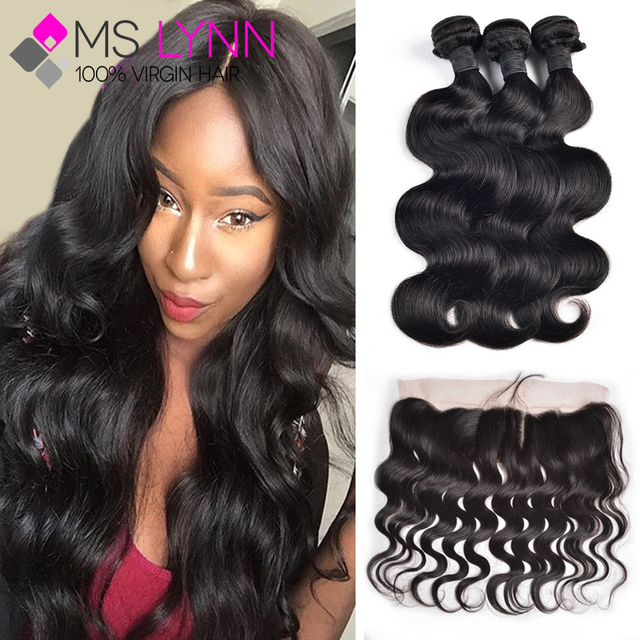 7A Peruvian Virgin Hair With Closure Ear To Ear Lace Frontal Closure With Bundles,Body Wave 3 Bundles With Closure Human Hair