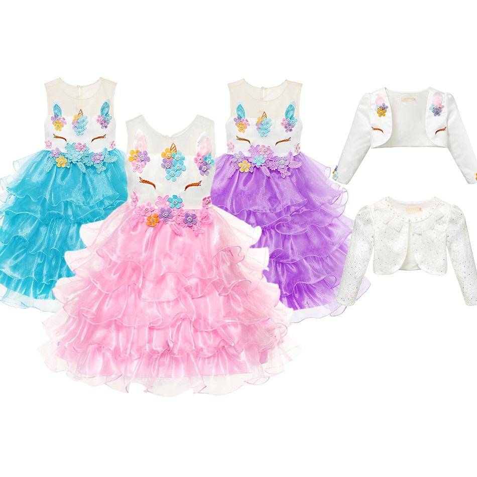 Girls Unicorn Princess Party Dress Set Unicornio Cosplay Costume Headband Cape