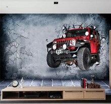 Custom wallpaper mural 3d retro luxury car broken wall background high-grade waterproof silk material