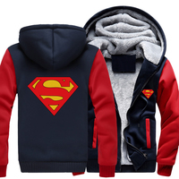 Free Shipping USA Size Men Women Superman Zipper Jacket Sweatshirts Thicken Hoodie Coat Clothing Unisex Casual