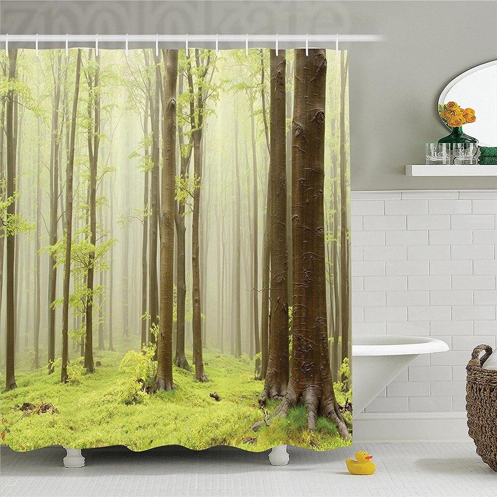 Woodland Decor Shower Curtain Set Misty