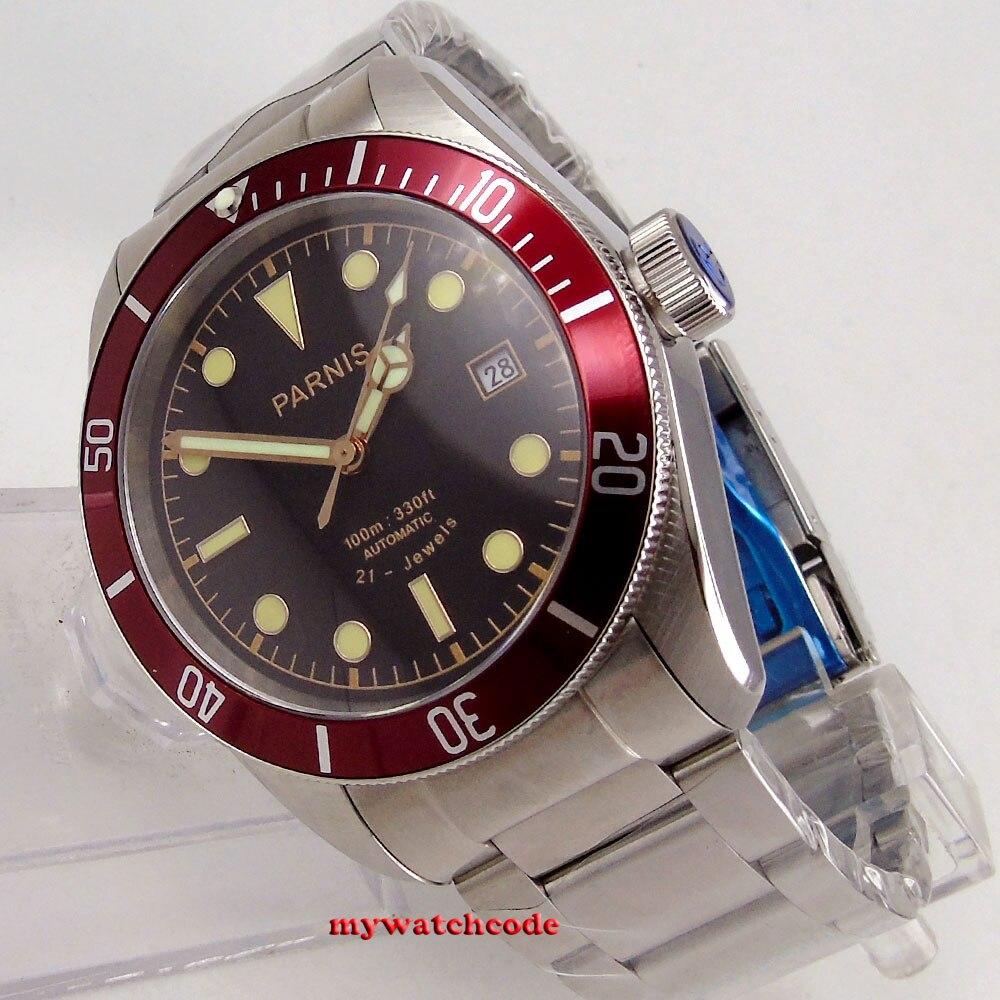 Saatler'ten Mekanik Saatler'de Lüks Marka erkek saati Otomatik Parnis 41mm siyah kadran süper parlak tarihi 8215 Otomatik Mekanik erkek Saatler kol saati'da  Grup 2