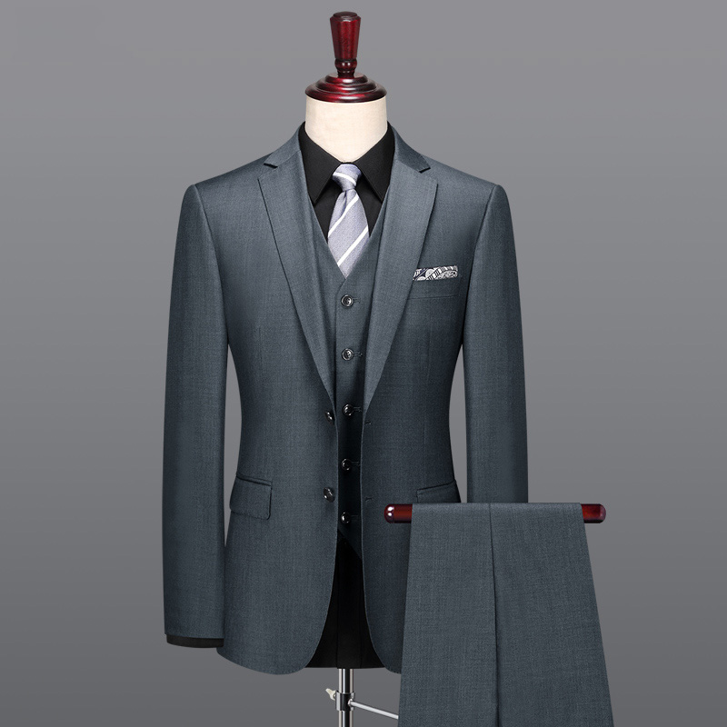 100% Wool 2018 Spring New Arrivals Causal Slim Fit Grey Blazer Vest Pant 3pcs Set Plus Size Father Day Gifts Classic Two Button