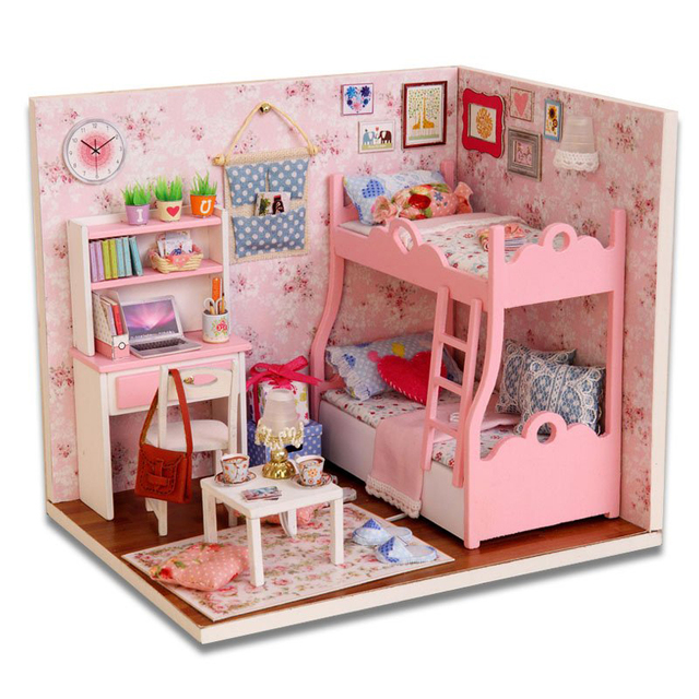 DIY Wood Dollhouse Miniature with LED+Furniture+Cover Mini Pink ...