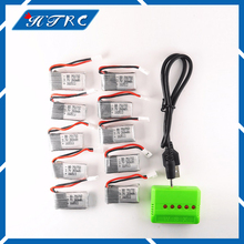 10pcs 3.7V 260mAh Lipo Battery with X5 5in1 green Charger for Eachine H8 JJRC H8 Mini RC Quadcopter drone parts Free shipping
