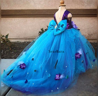 Real Picture Flower Girl Dress Long Train Open Back Purple Sequin Top with Blue Tulle Beaded Crystals Girl Prom Evening Gown
