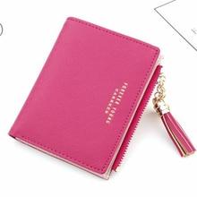 Small cute wallet ladies short paragraph leather zipper card holder clutch bag 2019 tassel explosion models