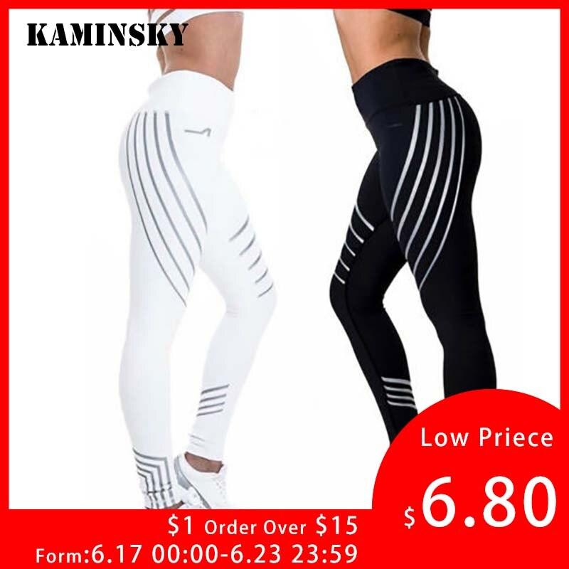 Kaminsky New Woman Fitness   Leggings   Light High Elastic Shine Leggins Workout Slim Fit Women Pants Black Trousers   Leggings