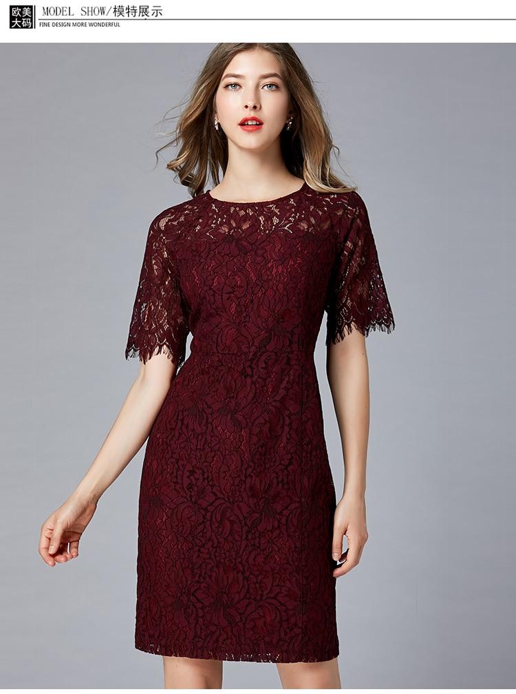 2019 été nouvelle robe en dentelle grand nom dames partie haut de gamme violet à manches courtes robe en dentelle