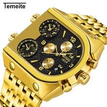 أفضل العلامة التجارية TEMEITE ساعات كوارتز كبيرة الرجال العسكرية مقاوم للماء الأعمال ساعة اليد الفاخرة الذهب الصلب الذكور ساعة Relogio Masculino