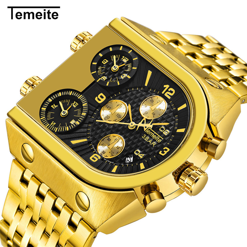 Top Brand TEMEITE Big Quartz Watches Men Military Waterproof Business Wristwatch Luxury Gold Steel Male Clock Relogio Masculino