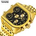 Top Merk TEMEITE Grote Quartz Horloges Mannen Militaire Waterdicht Bedrijvengids Horloge Luxe Gouden Staal Mannelijke Klok Relogio Masculino