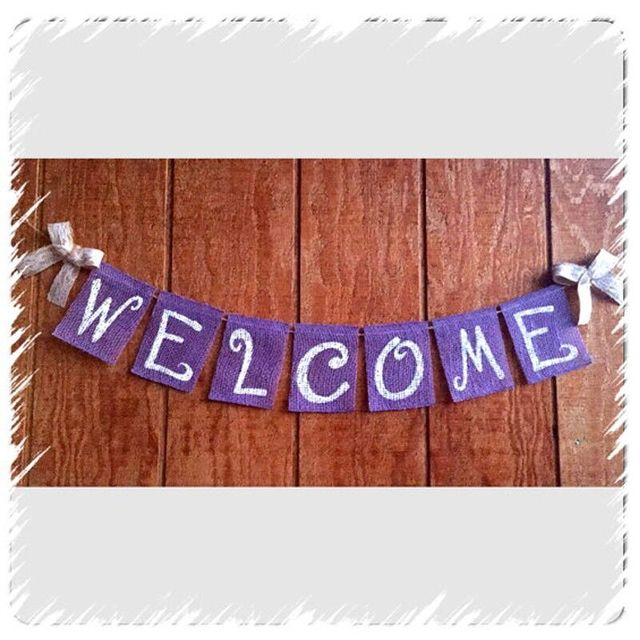 Rustic Purple Welcome Banner Garland Birthday Party Decoration Individual Wedding Home Celebrations Bunting Sign