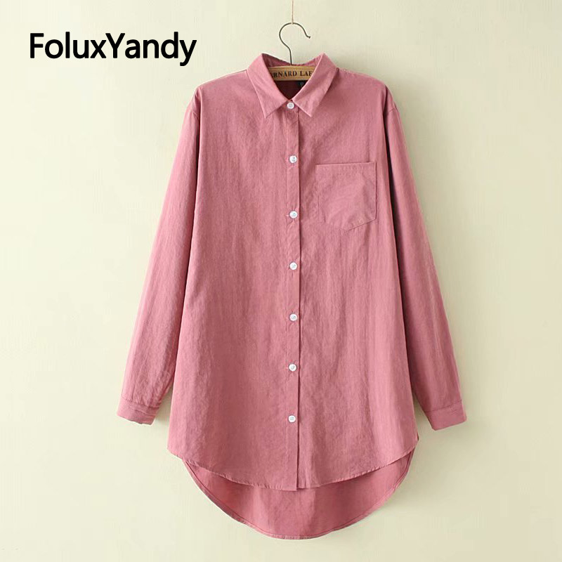 Vintage   Shirts   5 Colors Long Sleeve   Blouses   Women Plus Size Long   Blouse     Shirt   KKFY3211