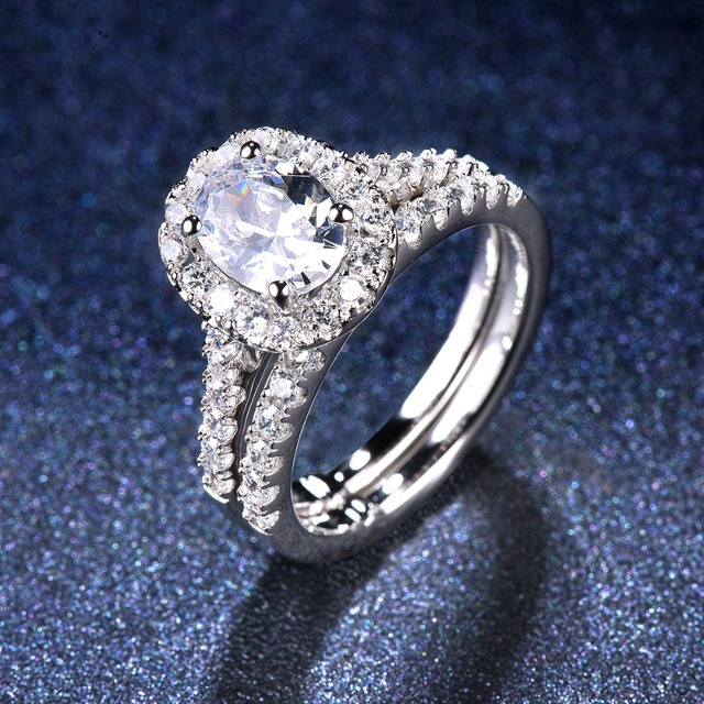 1.5 carats Classic Oval Diamond CZ Halo Wedding Ring Sets 2-in-1 Real 925 Sterling Silver Engagement Ring For Women Bridal