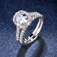 1.5 carats Classic Oval Diamond CZ Halo Wedding Ring Sets 2 in 1 Real 925 Sterling Silver Engagement Ring For Women Bridal