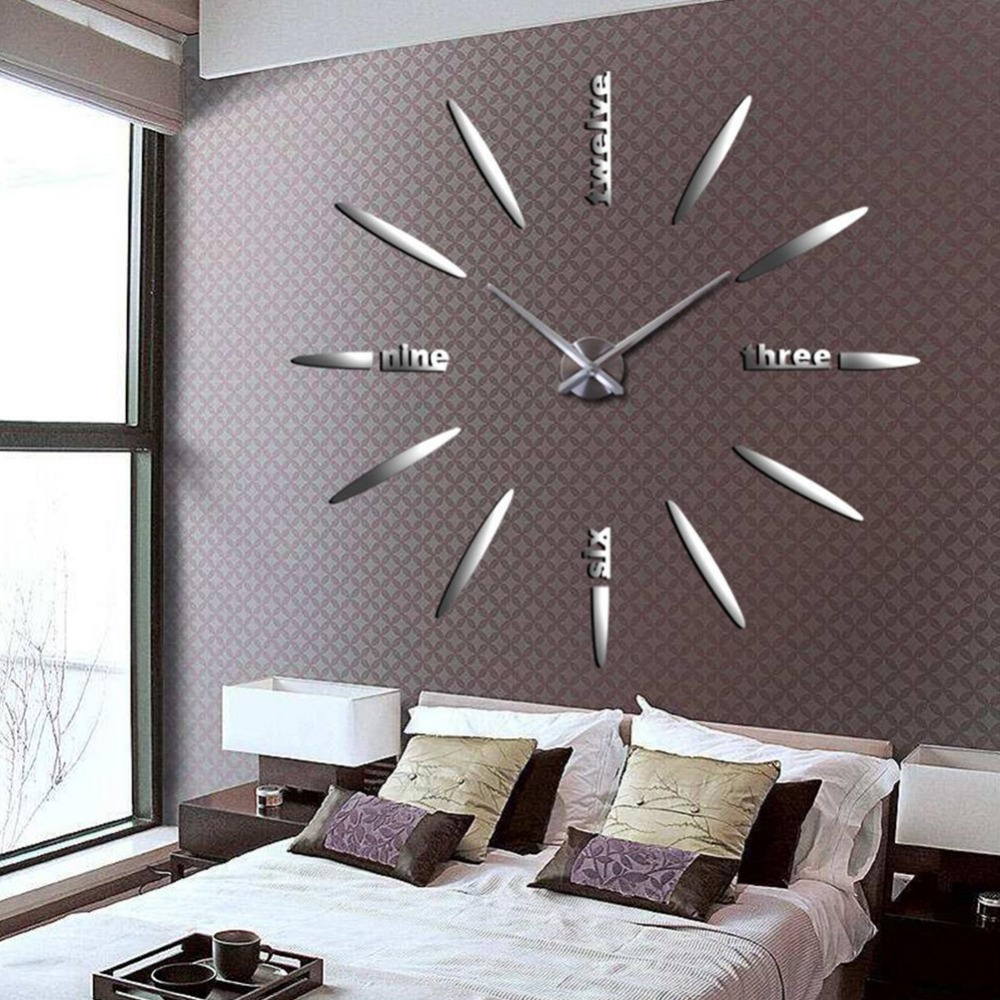 Home Decoration Wall Clock Watch Big Mirror Wall Clock Modern Large Size Wall Clocks 3D DIY Acrylic Wall Sticker Unique Gift in Wall Clocks from Home Garden
