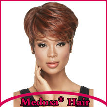 Medusa hair products: Fun whispy pixie cut styles Synthetic pastel wigs for women Short straight Mix color wig with bangs SW0161