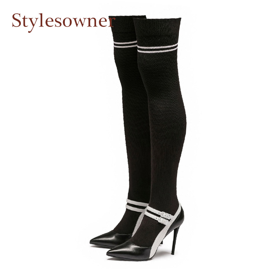Stylesowner women over knee boots mixed color belt buckle stretch knit sock boots sexy pointed toe stiletto heel thigh high boot black stretch fabric suede over the knee open toe knit boots cut out heel thigh high boots in beige knit elastic sock long boots