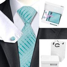 Mens Silk Ties Blue Stripe Tie Hanky Cufflinks Gift Box Bag Set Business Wedding Party Ties For Men Gifts B-703