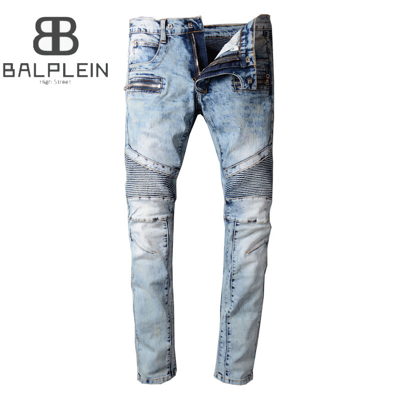 Light Blue Color Fashion Mens Jeans High Strteet Style Vintage Slim Fit Elastic Motor Jeans Homme Balplein Brand Biker Jeans Men men s cowboy jeans fashion blue jeans pant men plus sizes regular slim fit denim jean pants male high quality brand jeans