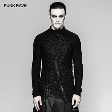 Панк РЕЙВ панк хеви-метал мужчины o-образным вырезом с длинным рукавом рваные футболки Готическая индивидуальность хлопок мужская уличная одежда футболки пастельный, готический