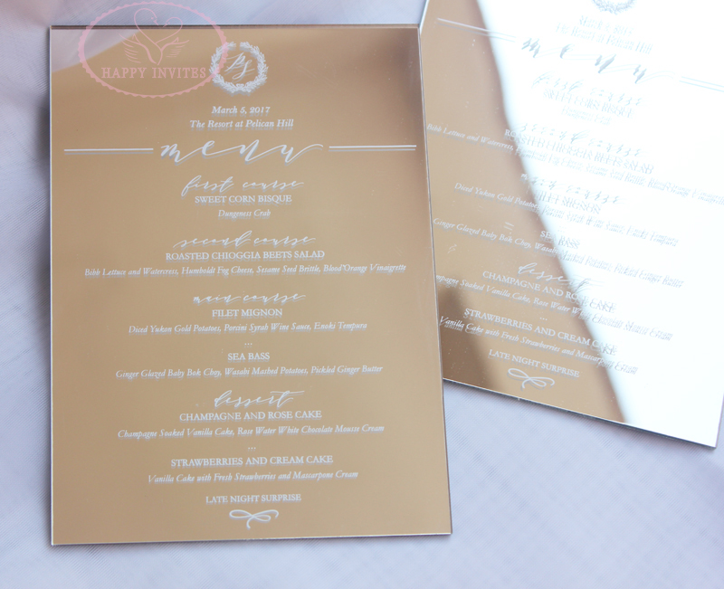 Free Shipping! HI4058 Gold Mirror Menus Card with White ...