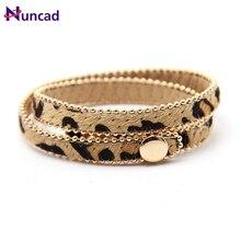 be6d51478284 Primavera de 2018 nuevo botón Ajustar pulsera Multicolor estampado de  leopardo bien regalos para mujeres
