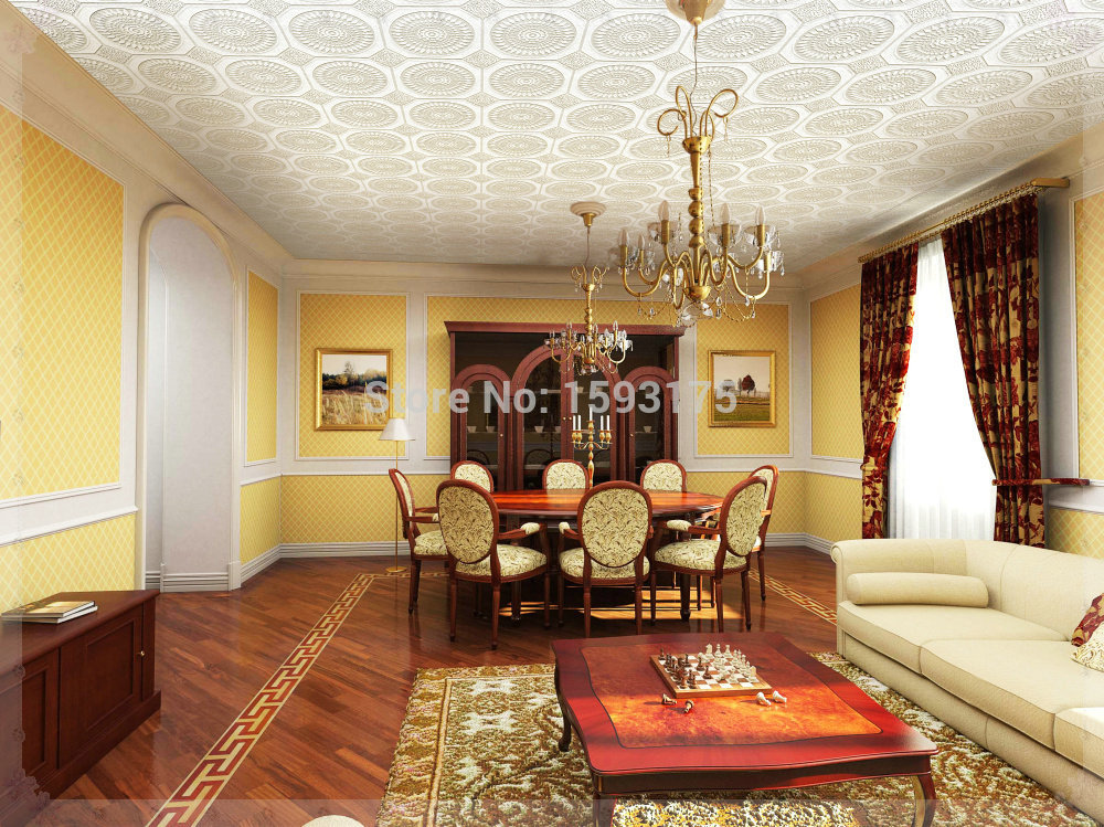 Domestic Elegant Pvc Ceiling Wallpapers White Color Wallpaper Royal Design Top Wall Paint Kitchen