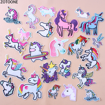 ZOTOONE Fashionable Unicorn Patches for Clothes Embroidered Patch Garment Iron on Sequin Sewing Applications Stickers