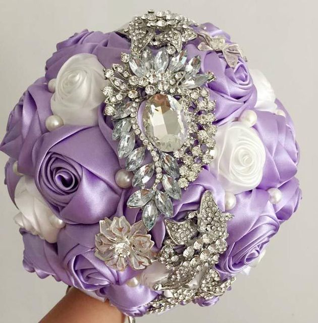 Фиолетовый роскошный горный хрусталь искусственный свадебные букеты рамо Novia Mariage невесты Accessoires