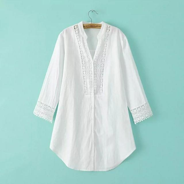 d278d1412b WB7678692  Korean Style Fashion Women Plus Size Off White Linen Lace Tunic  Shirt