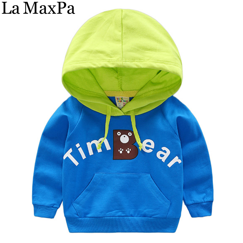 La MaxPa Baby Boys Pullover Casual Sweatshirt 2018 Spring Childrens Clothing Color Block Hooded Boys Hoodies Kids Outerwear