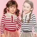 2016 Crianças de Nova Outono T-shirt de Manga Longa Crianças Meninas Das Camisas De Algodão Listrado Casuais Estilo Coreano Roupa Dos Miúdos Rendas Camisetas