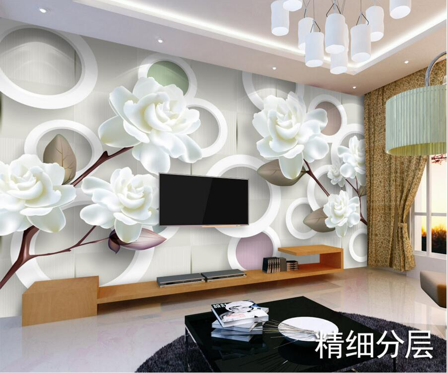 Custom 3D muralsSimple modern white peony papel de paredehotel