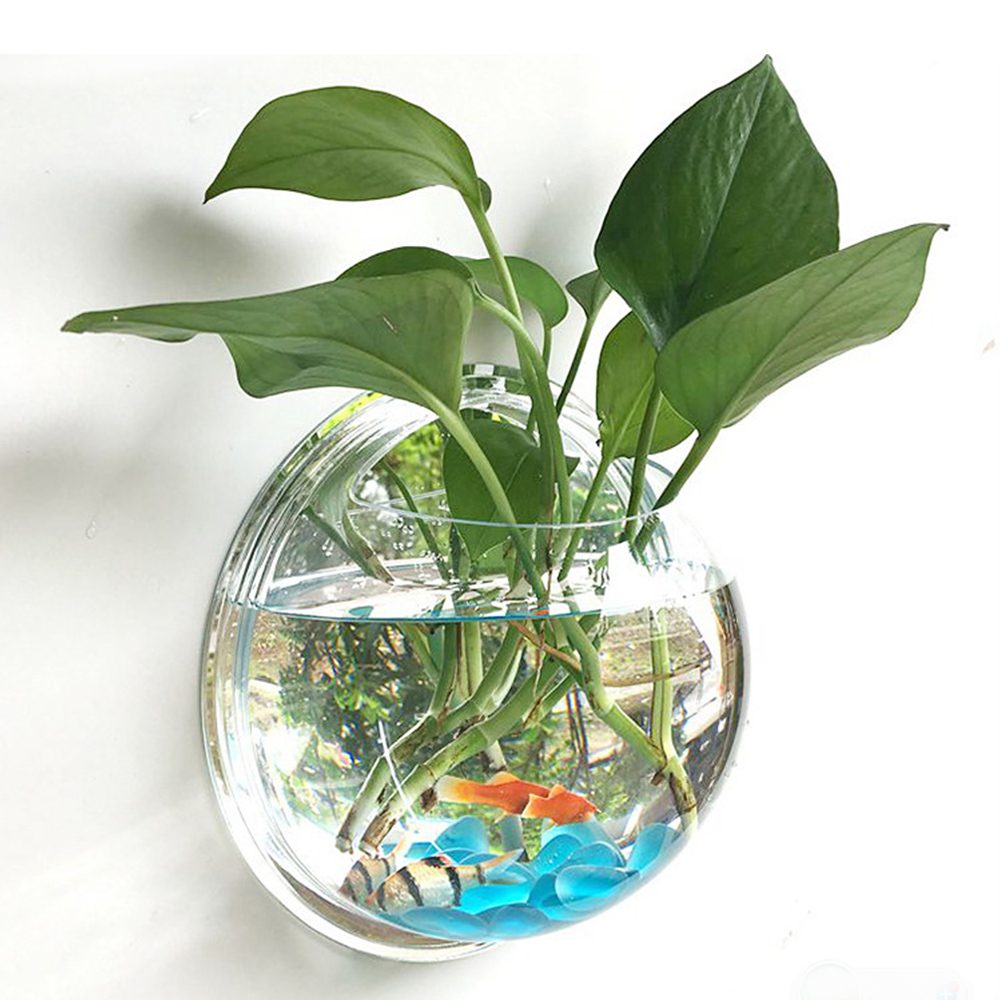 2019 Pot Plant Wall Mounted Hanging Bubble Bowl Fish Tank Aquarium Home Art Decor Set Clear Fish Tank Home Accessories image