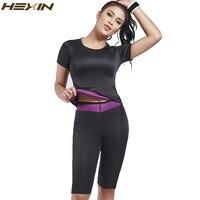 HEXIN Neoprene Shirt Vest Sauna Sweat Shirt Body Shapewear Sets Hot Sweat Weight Loss Slimming Lingerie Shaper Top+Pants