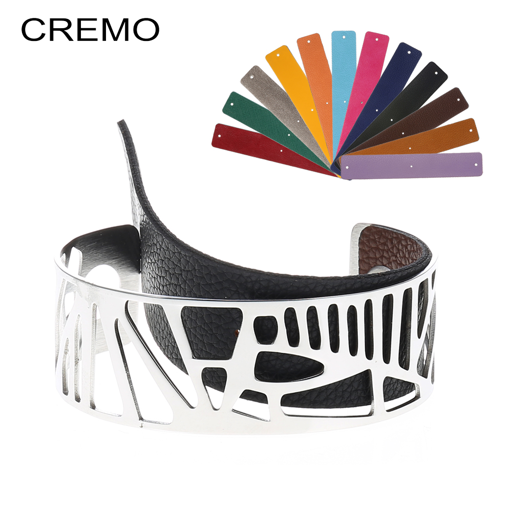 Cremo Plam Bangles Arm Cuff Bracelets Argent Minimalist Stainless Steel Bracelet Interchangeable Reversible 25mm Leather BandCremo Plam Bangles Arm Cuff Bracelets Argent Minimalist Stainless Steel Bracelet Interchangeable Reversible 25mm Leather Band