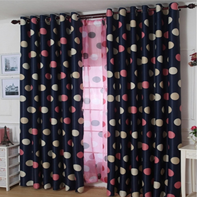 1 Panel Princess Pink Blue Round Dot Blackout Curtains Boy Girls Kids Bedroom Curtain Living Room