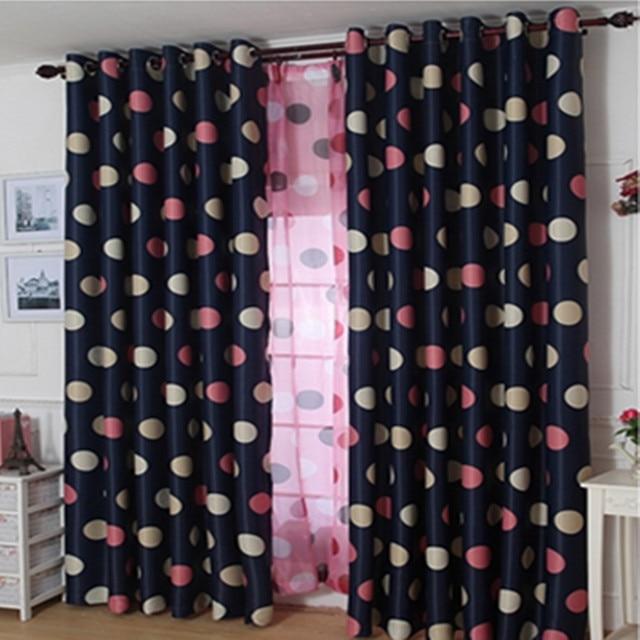 1 Panel Princess Pink Blue Round Dot Blackout Curtains Boy Girls Kids Bedroom  Curtain Living Room