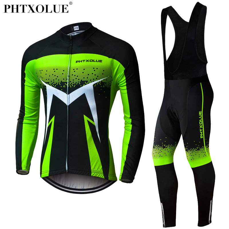 Phtxolue 2018 Breathable Long Sleeve Cycling Set Mountain Bike Clothing Autumn Bicycle Jerseys Clothes Maillot Ropa Ciclismo цена